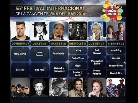Parrilla de artistas que participarán de Viña 2014